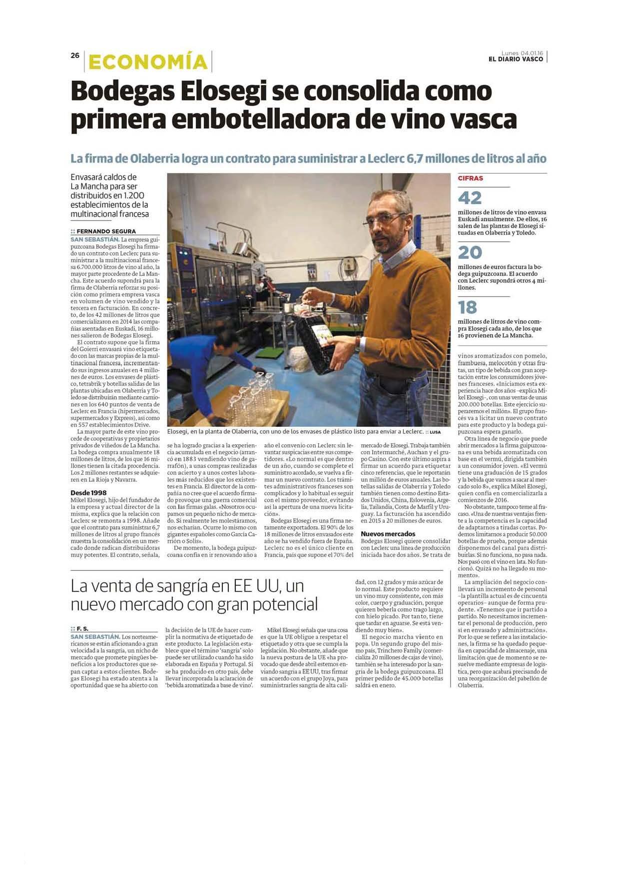 Bodegas Elosegi se presenta como lo que es, la empresa vasca que más vino comercializa